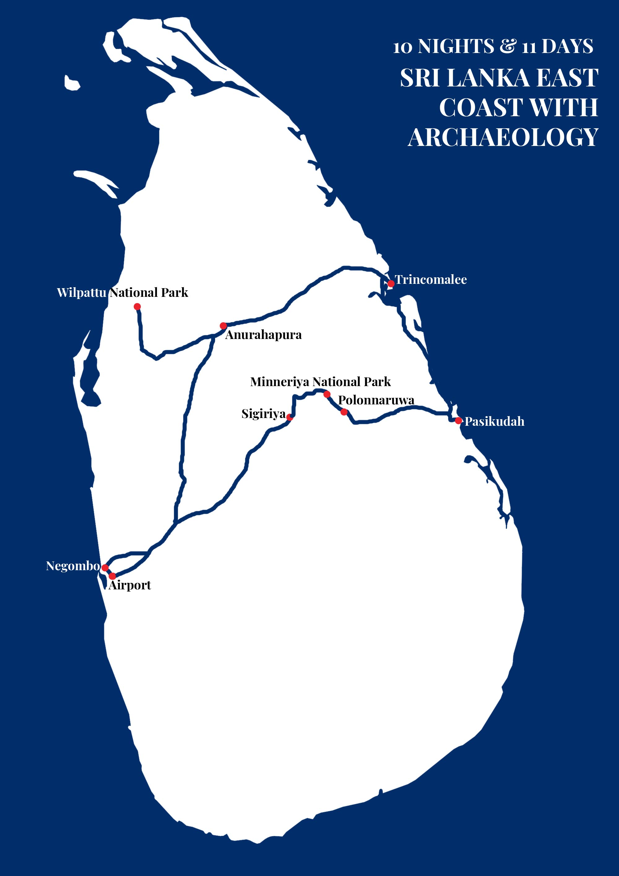 SRI LANKA EAST COAST WITH ARCHAEOLOGY Map