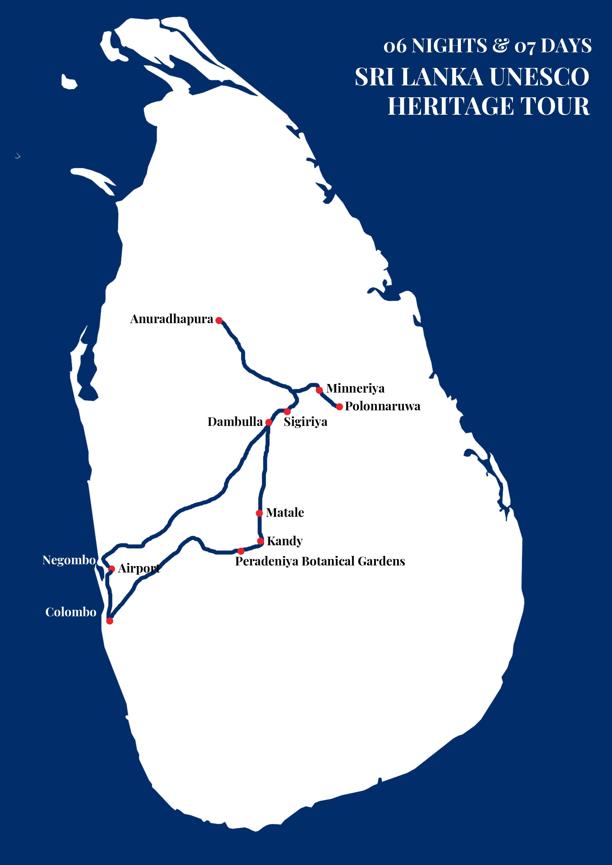 SRI LANKA UNESCO HERITAGE TOUR map