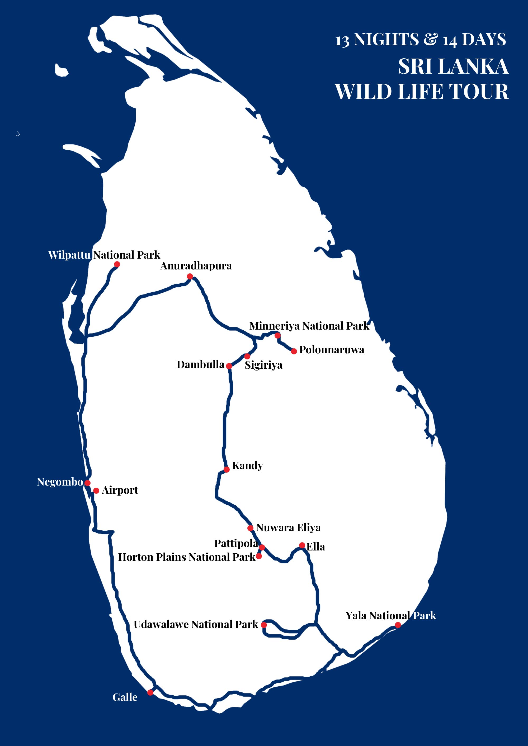 SRI LANKA WILD LIFE TOUR Map