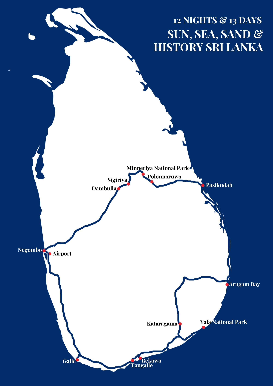 SUN, SEA, SAND & HISTORY SRI LANKA Map